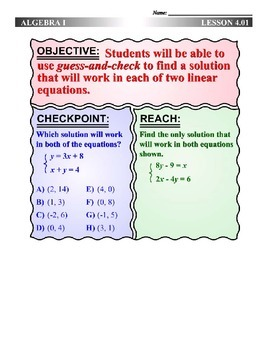 Algebra 1 (4.01) DRAFT: Guess-and-Check to Solve a System