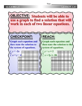 Algebra 1 (4.03) DRAFT: Graphing to Solve a System of Equations