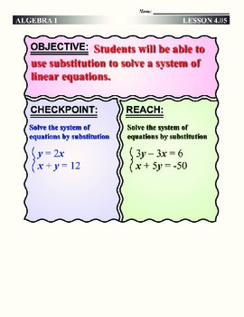 Algebra 1 (4.05) DRAFT: Substituting to Solve a System of Linear Equations