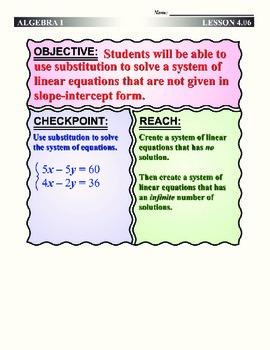 Algebra 1 (4.06) DRAFT: Manipulating Equations to Solve Sy
