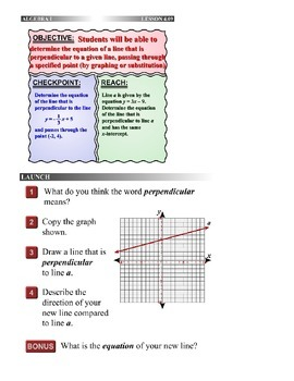 Algebra 1 (4.09) DRAFT: Equation of a Perpendicular Line Through a Point