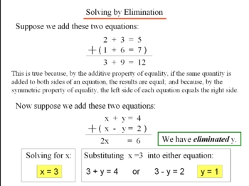 Algebra 1: 480 Solving Systems of Equations Algebraically
