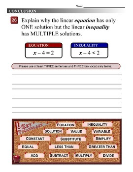 """Algebra 1 (5.01) DRAFT: Identify Numbers which """"Work"""" in an Inequality"""