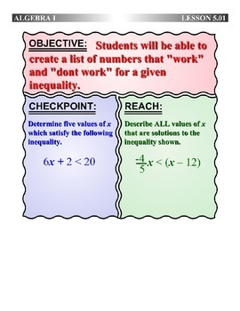 "Algebra 1 (5.01) DRAFT: Identify Numbers which ""Work"" in a"