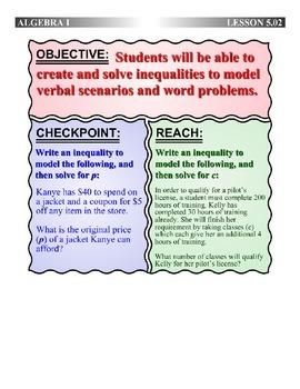 Algebra 1 (5.02) DRAFT: Write and Solve Inequalities