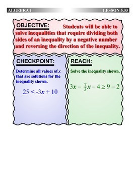Algebra 1 (5.03) DRAFT: Solve Inequalities with Negative Division