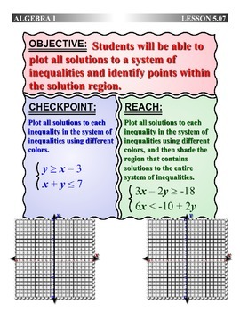 Algebra 1 (5.07) DRAFT: Plot All Solutions to a System of