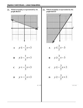 Algebra 1 (5.X): Unit 5- Solving and Graphing Inequalities: ASSESSMENTS