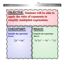 Algebra 1 (6.01) DRAFT: Product of Powers