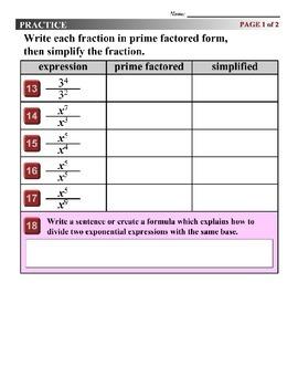 Algebra 1 (6.03) DRAFT: Quotient of Powers