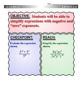 Algebra 1 (6.04) DRAFT: Zero and Negative Powers