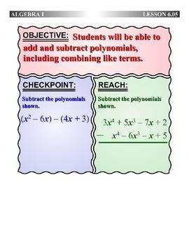 Algebra 1 (6.05) DRAFT: Add and Subtract Polynomials