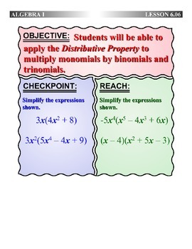 Algebra 1 (6.06) DRAFT: The Distributive Property with Polynomials