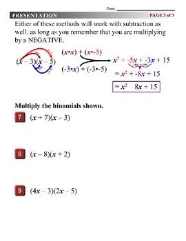 Algebra 1 (6.07) DRAFT: Multiply Binomials