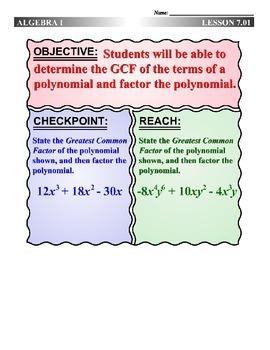 Algebra 1 (7.01) DRAFT: Use the GCF to Factor Polynomials