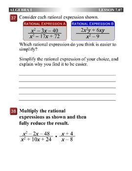 Algebra 1 (7.07) DRAFT: Factor and Cancel Rational Expressions