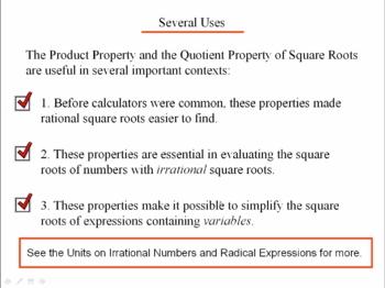 Algebra 1: 730 Rational Square Roots