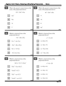 Algebra 1 (7.X): Unit 7- Factoring and Simplifying Polynomials: ASSESSMENTS