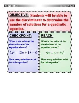 Algebra 1 (8.08) DRAFT: Using the Discriminant to Find 0, 1, or 2 Solutions