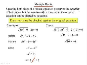 Algebra 1: 850 Radical Equations