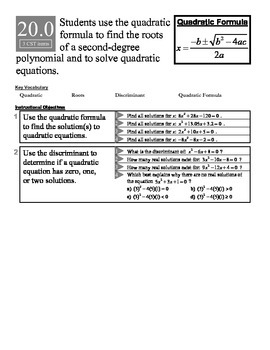 Algebra 1 (8.X): Unit 8- Solving Quadratic Equations: ASSESSMENTS