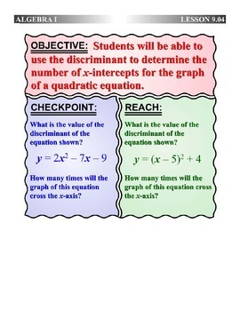 Algebra 1 (9.04) DRAFT: Interpreting the Discriminant