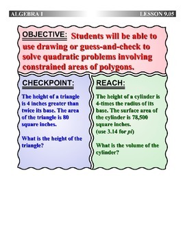 Algebra 1 (9.05) DRAFT: Solving Quadratic Polygon Problems