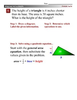 Algebra 1 (9.06) DRAFT: Solving Quadratic Polygon Problems with Equations