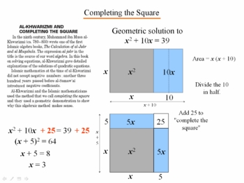 Algebra 1: 910 Completing the Square