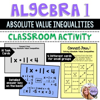 Algebra 1 - Absolute Value Inequalities - Task Cards - Connect Four Game
