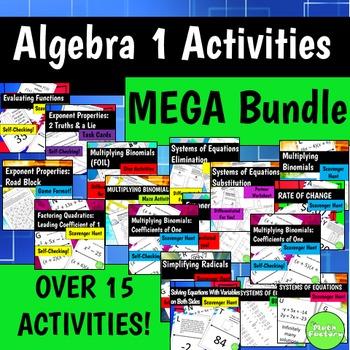 Algebra 1 Activities MEGA Bundle