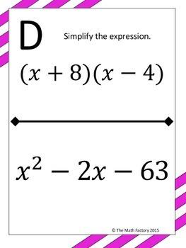 Algebra 1 Activity Bundle #3