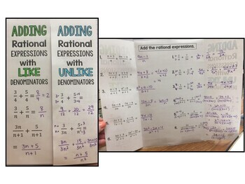 Algebra 1 - Adding and Subtracting Rational Expressions - Set of 2 Foldables