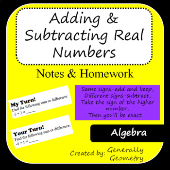 Algebra 1 Adding and Subtracting Real Numbers Notes and Homework