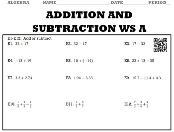 Algebra 1:  Addition and Subtraction WS A and WS B with Keys/QR Codes