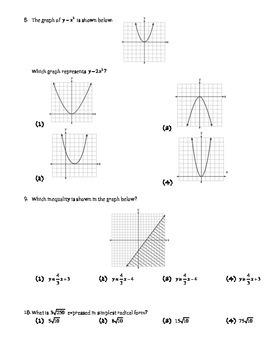 Algebra 1 Algebra 2 Baseline Assessment