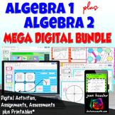 Algebra 1  Algebra 2 Mega Digital Combo Bundle  Distance Learning