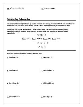 Algebra Tutorial & Worksheets: Multiplying Polynomials
