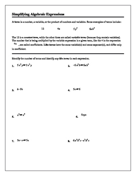 Algebra Tutorial & Worksheets: Simplifying Algebraic Expressions