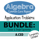 Standards Based Algebra 1 Assessment - A.CED Linear & Simple Exponential Bundle