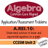 Algebra 1 Assessment A.REI.10 - Understand Solutions Graphically CCSSM Unit 2