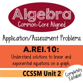 Algebra 1 Assessment A.REI.10 - Understand Solutions Graphically CCSSM Unit 2