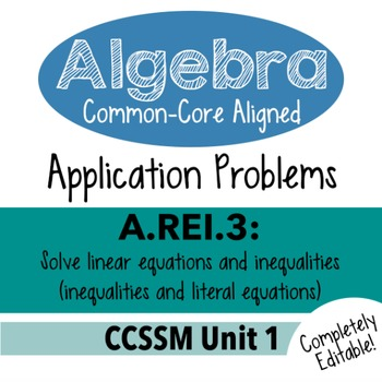 Algebra 1 Assessment A.REI.3 - Solve Inequality & Literal Equations CCSSM Unit 1