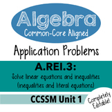 Algebra 1 Assessment A.REI.3 - Solve Inequality & Literal Equations CCSSM Unit 1