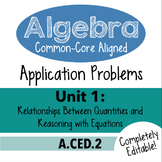 Algebra 1 Assessment A.CED.2 - Creating Linear & Exp. Equa