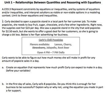 Algebra 1 Assessment A.CED.3 - Linear Modeling CCSSM Unit 1