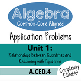 Algebra 1 Assessment A.CED.4 - Rearrange Linear Formulas CCSSM Unit 1