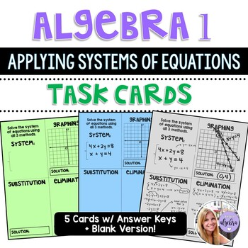 Algebra 1 - Applying Systems of Equations Task Cards Activity
