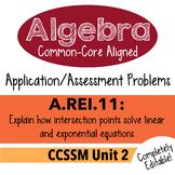 Algebra 1 Assessment A.REI.11 - Solve Equations Graphically CCSSM Unit 2