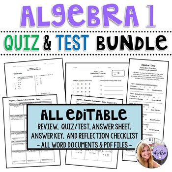 Algebra 1 - Assessments: ALL Editable Quiz and Test - Growing Bundle